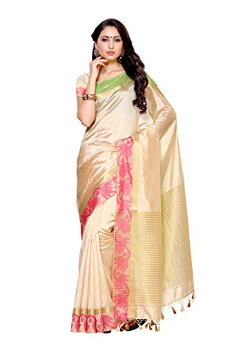 Mimosa By Kupinda Tusser Art Silk Saree Kanjivaram Style Color : Off White(4012-2132-HWT)  available at amazon for Rs.1299