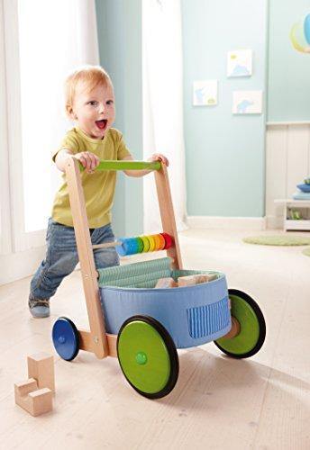 HABA 6432 - Lauflernwagen Farbenspaß, Lauflernhilfe aus Holz und Textil mit bunten Spielelementen, Transportfach für Spielsachen, Bremse und Gummirädern, ab 10 Monaten - 4