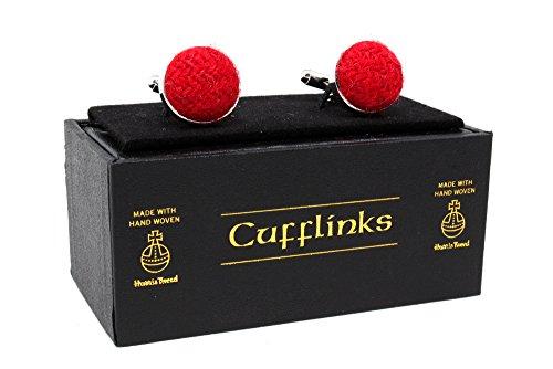 Harris Tweed Manschettenknöpfe mit Box und schwarz Samtbeutel,  - Plain Red,...