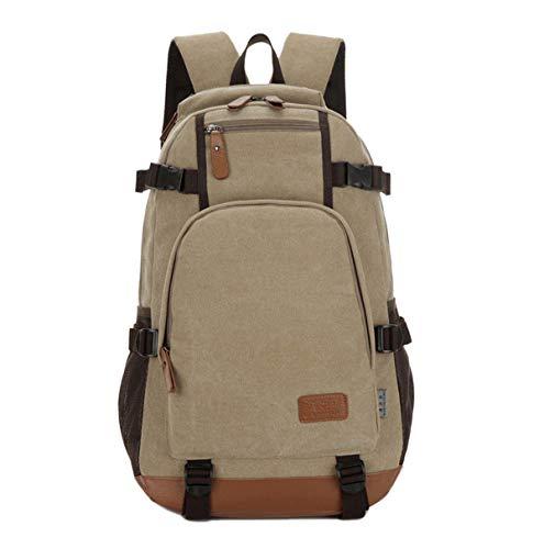 wewo wasserfest schoolbag Groß Leinwand schultasche jugendliche Backpack hochschule Einfarbig schulrucksack jungen schule rucksack Laptop 15.6 Zoll (Khaki)