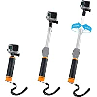 """Waterproof Telescopic Pole and Floating Hand Grip in one - For Gopro Hero 5, Black, Session, Hero 4, Session, Black, Silver, Hero+ LCD, 3+, 3, 2, 1 - Extendable from 6.7"""" to 15.7"""" - With Cradle for WiFi Remote"""