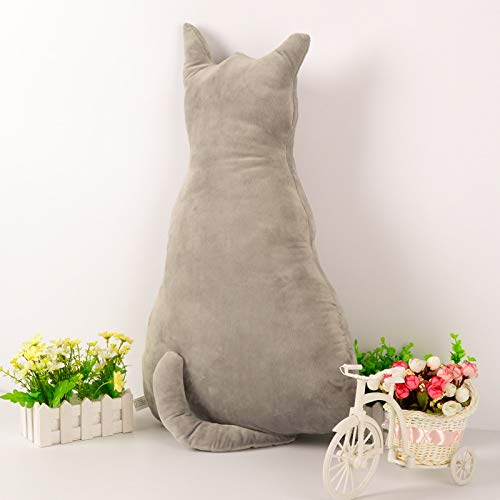 Kreative Rücken Katze großes Kissen Katze Puppe Plüschtier Kissen Puppe Geschenk grau 30cm