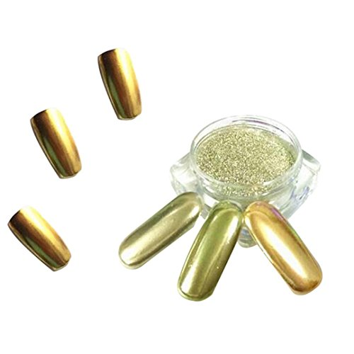 Nail Mirror Powder,Transer ® 1g / boîte or Sliver Nail Glitter poudre Shinning ongles miroir maquillage Art Chrome bricolage Pigment de la poudre(Or)