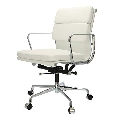 Popfurniture POP Designer Bürostuhl - Chefsessel, Schreibtischstuhl aus Kalbsleder | Höhenverstellbar | Weiß | EA217