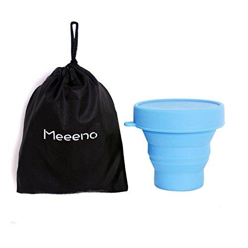 Silikon Tasse für Menstruationstasse Faltbar Tragbare Reinigungsbecher, Ökologisch und Hygienisch (Blau)