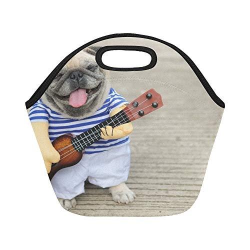 Isolierte Neopren Lunch Bag Indy Musiker Gitarrist Mops Hund lustige Mops große wiederverwendbare thermische dickes Mittagessen Tragetaschen für Lunch-Boxen für Outdoor, Arbeit, Büro, Schule