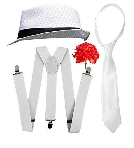 , für Herren, elegant, Kleid-Zubehör, Deluxe-Kit, Schwarz oder Weiß, Nadelstreifen, Filzhut + weiße Hosenträger + weiße Krawatte, Al Capone-Stil (Great Gatsby Kostüm Herren)