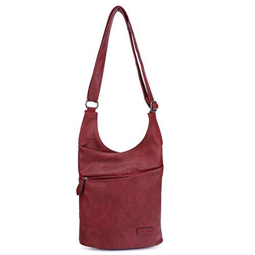 CASAdiNOVA ® Vegane Damen Hand-Tasche in rot, elegante Frauen Schulter-Tasche mit Reißverschluss, moderne und sportliche Umhänge-Tasche aus Leder -