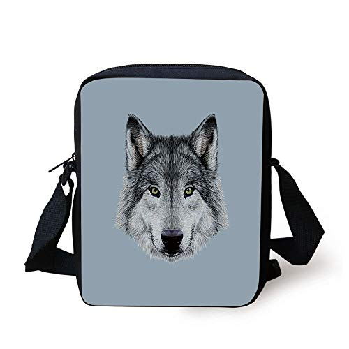 Wolf,Wolf Portrait with Beautiful Gaze Sublime Animal Illustration Canine Beast,Black Beige Bluegrey Print Kids Crossbody Messenger Bag Purse -