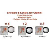 Shirataki di Konjac 250gr Pacco Misto da 8 Include 4 Spaghetti di Konjac, 2 Tagliatelle di Konjac, 2 Riso di Konjac