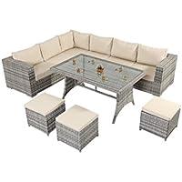 West Country-Tavolino in stile rustico con divano ad angolo, è composta da un divano ad angolo modulare da 3 a 2 posti, con tavolo da pranzo in vetro e tre Footstools Rattan Garden Furniture