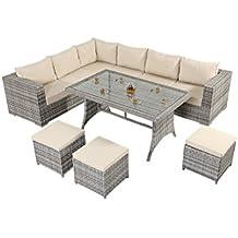 West país rústico mesa sofá de esquina–consta de un gran sofá de esquina de tres Modular dos plazas sofás, una parte superior de cristal mesa de comedor y tres reposapiés de ratán muebles de jardín