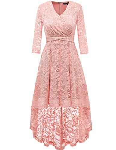DRESSTELLS Abendkleider elegant Cocktailkleid Unregelmässig Spitzenkleid Vokuhila Floral Kleid Blush XL