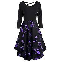 iDWZA Women's Halloween Evil Cat Print Fit Flare Dress Party Evening Prom Skirt XX-Large Purple