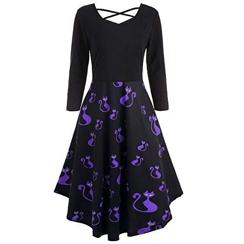 MIRRAY Damen Halloween Katze Drucken Lange Ärme Flare Kleid Party Casual Kleider l