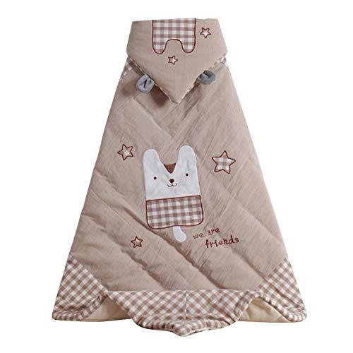 FYABB Baby Neugeborenen Swaddle Hugs Quilt, Infant Baumwolle Mit Kapuze Schlafsack Sack Weiche Warme Decke Wrap (100 * 100 cm),Brown -
