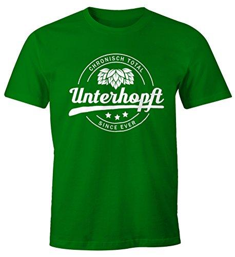 MoonWorks Chronisch Unterhopft Total Herren T-Shirt Since Ever Fun-Shirt Grün L (Trinken-shirt Bier)