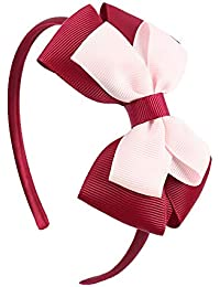 EROSPA® Haar-Reif mit Schleife - Haarschmuck Kinder Mädchen - Rot/Rosa