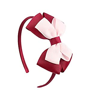 EROSPA® Haar-Reif mit Schleife – Haarschmuck Kinder Mädchen – Rot/Rosa