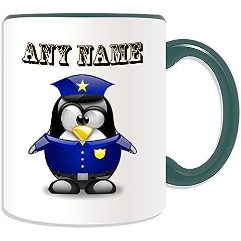 Regalo smartrestyle - Taza de policía (pingüino en traje de tema, colores) - nombre/mensaje en su único - policía, cerámica, verde