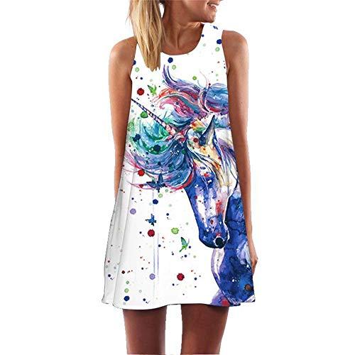binglinshang Nouvelle Robe colorée de Licorne 2019 sans Manches Une Ligne imprimée en 3D Vintage Beach Party Robes Mini Robe Sexy Robe Courte Robe d'été, L