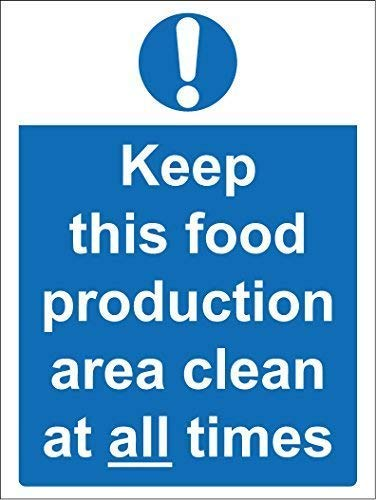Tin Sign Fashion Hygiene Catering Keep This Food Production Area Clean at All Times Metal Aluminum Sign Wall Plaque for Indoor Outdoor 7.8x11.8 Inch