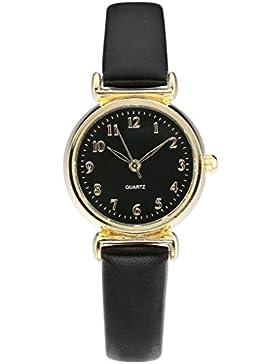 JSDDE Uhren,Armbanduhr Gold Gehäuser Elegant Quarzuhr Uhr Modisch Damenuhr Dünn PU Leder Analog Uhr,Schwarz