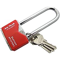 Amtech T0707 Long Shackle Rhombic Chrome Plated Iron Padlock, 40 mm