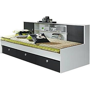 Funktionsbett 90x200 grau  Funktionsbett Manuel weiß grau inkl Schubladen + Regal Kinderbett ...
