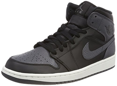 the best attitude e8436 37937 Nike Air Jordan 1 Mid, Zapatos de Baloncesto para Hombre, Negro (Black