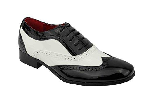 Rossellini Herren Patent Glänzend Leder Zank Gangster Fancy Kleid Smart Brogue Party Schuhe, Schwarz - Schwarz/Weiß - Größe: 44 (Leder Borsalino)