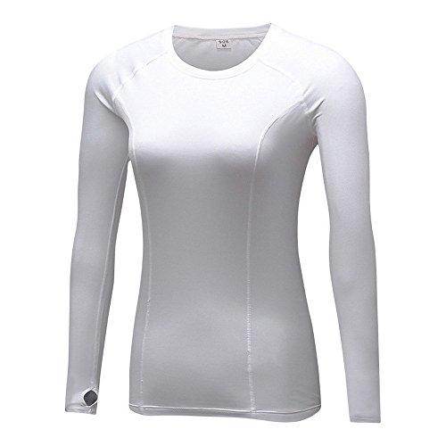 Oeak T-Shirt à Manches Longues Vêtement de Sport Séchage Rapide Élastique Pour Hiver Blanc