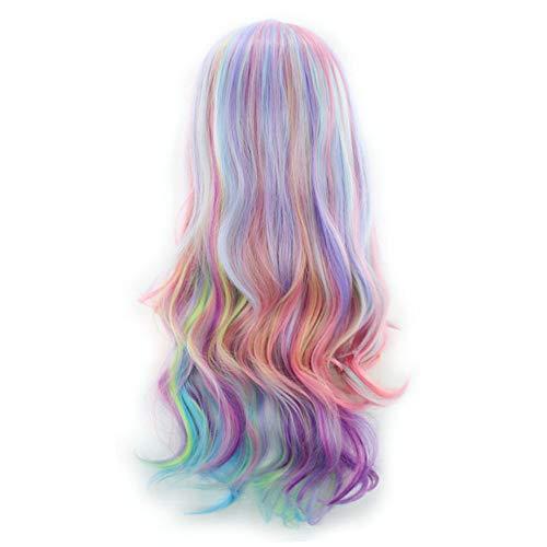 LMRYJQ Mädchen Mode Perücke Lange lockige Wigs Mehrfarbige charmante Perücken für Cosplay Girls Party oder täglichen ()