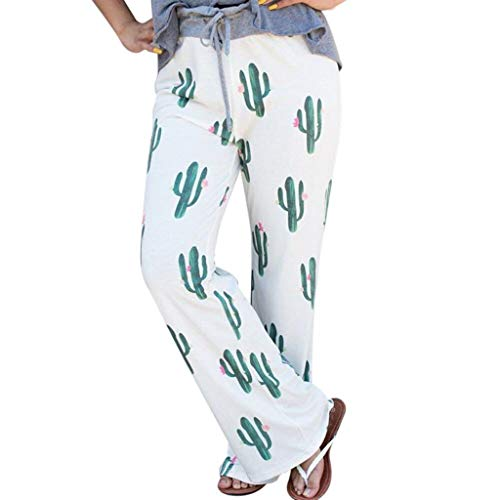 Makefortune  Women Cactus Prints Drawstring Waist Wide Leg Flowy Pants Loose Yoga Trousers Ladies Casual Summer Sports Workout Gym Fitness Exercise Skinny Girls Baggy Lounge Pants (Basic Trachten Stiefel)