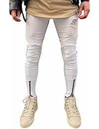 Amlaiworld Pantalones Vaqueros de Moto de Hombres Pantalones de Deportivos  con Bolsillos Slim fit Skinny Elásticos dbce9dd77041