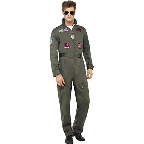 Smiffys Top Gun Herren Kostüm Pilot Overall Jumpsuit Karneval Fasching Gr.XL (Top Piloten-kostüm Gun)