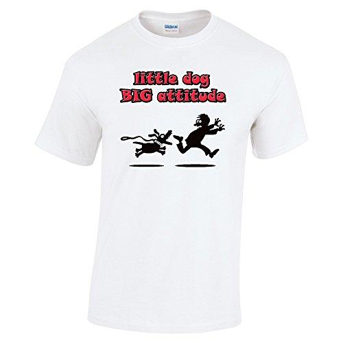 Divertente 080, Little Dog Big Attitude, White Gildan Heavy Cotton Youth T-shirt Bianco Bambino Ragazze Maglietta Kids Girls Tee Top con Design Colorato. Taglia Small, 5-6 Anni.