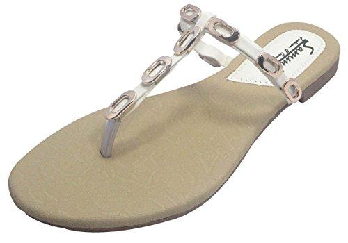 Sammy sandales plates des femmes occasionnels à la mode des tongs de flottaison extérieur Beige et blanc