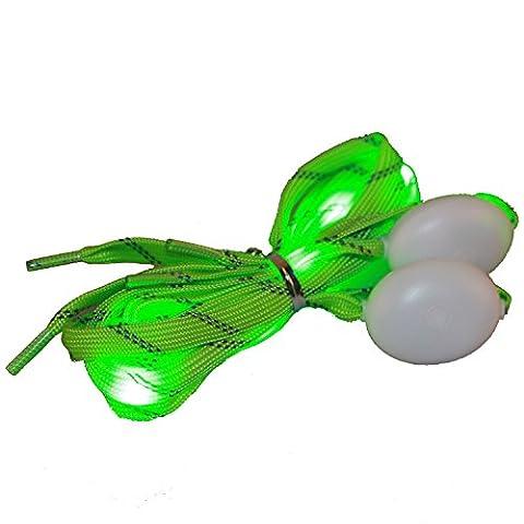 eJiasu LED Shoelaces, haute visibilité Cordon confort naturel pour les chaussures de course, les bottes et les patins (2 paires de vert)