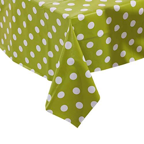 Vinylla Mantel para mesa (PVC, de fácil limpieza), diseño de lunares, verde y amarillo - 140x140cm