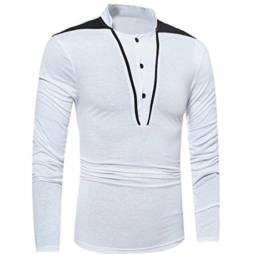 Malloom Männer Herren Slim Fit Kontrast Langarm-Patchwork T-Shirt Spitzenbluse Poloshirt Hemd Weiß
