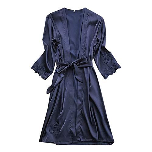 TianWlio Dessous Mode Damen Pyjamas Unterwäsche Unterhosen Unterröcke Negligees Weihnachten Dessous Seiden Spitze Kleid Baby Dolls Nachthemd Nachtwäsche Kimono Marine XL