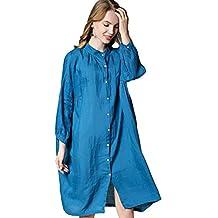 ccda4ab20 Camisa De Damas Botón De Vestir Lino Clásico 3 4 Brazo Cuello Mandarín  Blush Informal Vestido