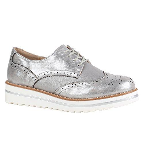 Damen Schuhe Halbschuhe Lack Glitzer Brogues Dandy Profilsohle 156166 Silber Brogues 37 Flandell