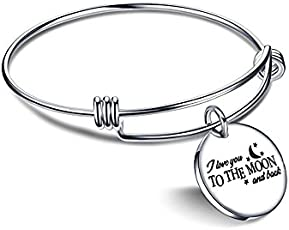 Yellow Chimes Love Message Steel Collection Charm Bracelet for Girls (Silver)(YCSSBR-221MOON-SL)