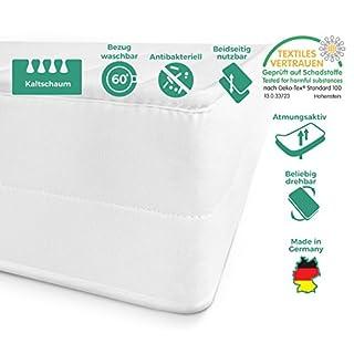 Mister Sandman Matratze mit 7-Zonenschnitt, 2in1 Härtegrad H2 & H3, Kaltschaummatratze Made in Germany Öko-Tex Zertifiziert, waschbarer Mikrofaserbezug Rollmatratze (120 x 200 cm, H2&h3)