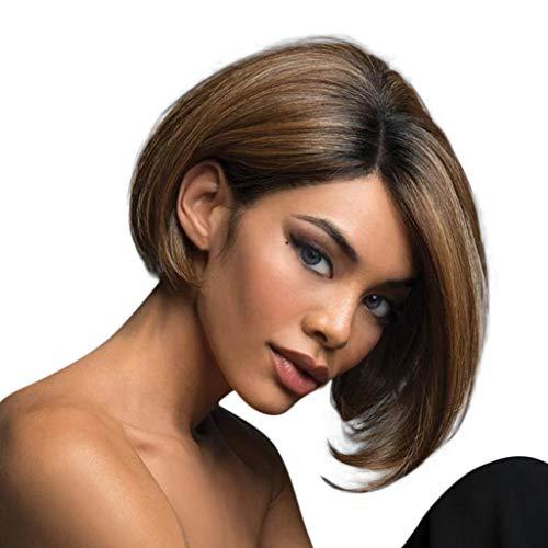 28cm Damen BOBO Seite kurzes glattes Haar, braune Ombre gradientengebleichte Perücke, hitzebeständige Kunstfaserperücke, Daily, Foto, Cosplay -