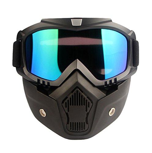 Dexinx Unisexe Moto Hors Route Masque Masque Imperméable à l'eau Durable HD anti-UV Lunettes Casque Anti-dérapant Réglable Lunettes Tactique avec Masque Détachable Comme imag