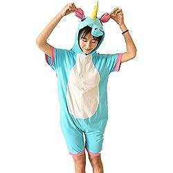 kenmont Jumpsuit dibujos animados de animales Unicornio Pijama Mono Disfraz sleepsuit Cosplay Animal Sleepwear para niños/adultos Blue Sommer Einhorn Medium