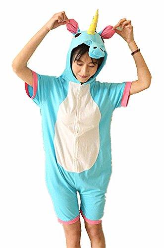 Kenmont Jumpsuit Tier Cartoon Einhorn Pyjama Overall Kostüm Sleepsuit Cosplay Animal Sleepwear für Kinder / Erwachsene (Small, Blue Sommer Einhorn) (Tiere Kostüme)